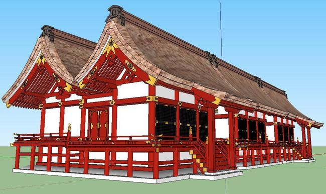 草图大师su木结构建筑精致模型