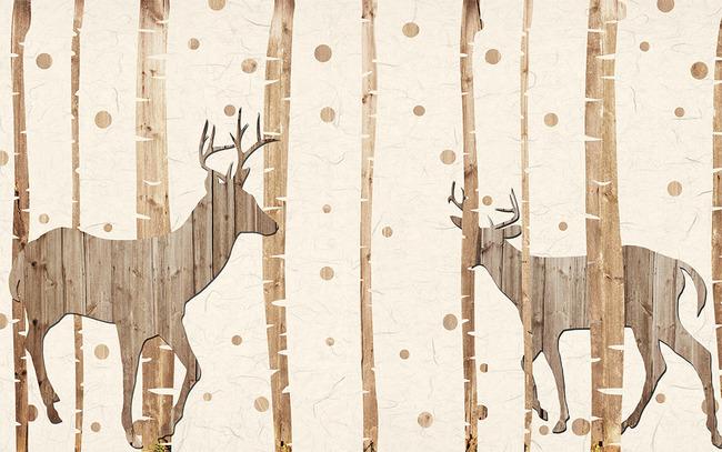 怀旧抽象手绘大树麋鹿剪影电视背景墙