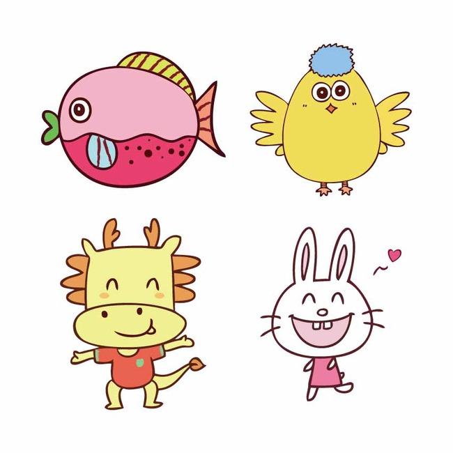 儿童卡通小动物画矢量素材图片