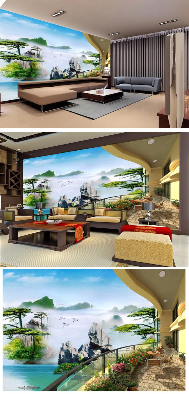 3d立体阳台山水画背景墙壁画图片下载3d立体阳台海景背景墙壁画 现代