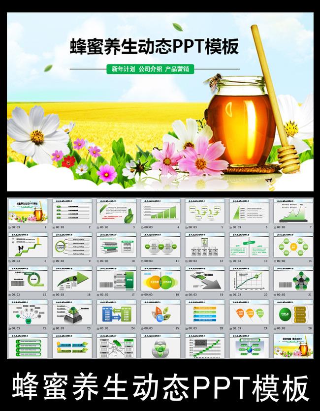 蜂蜜食品营养饮食健康ppt模板背景