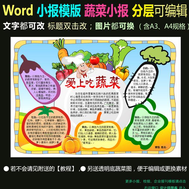 平面设计 其他 小报|手抄报 > word电子小报模板蔬菜小报五色蔬菜  找