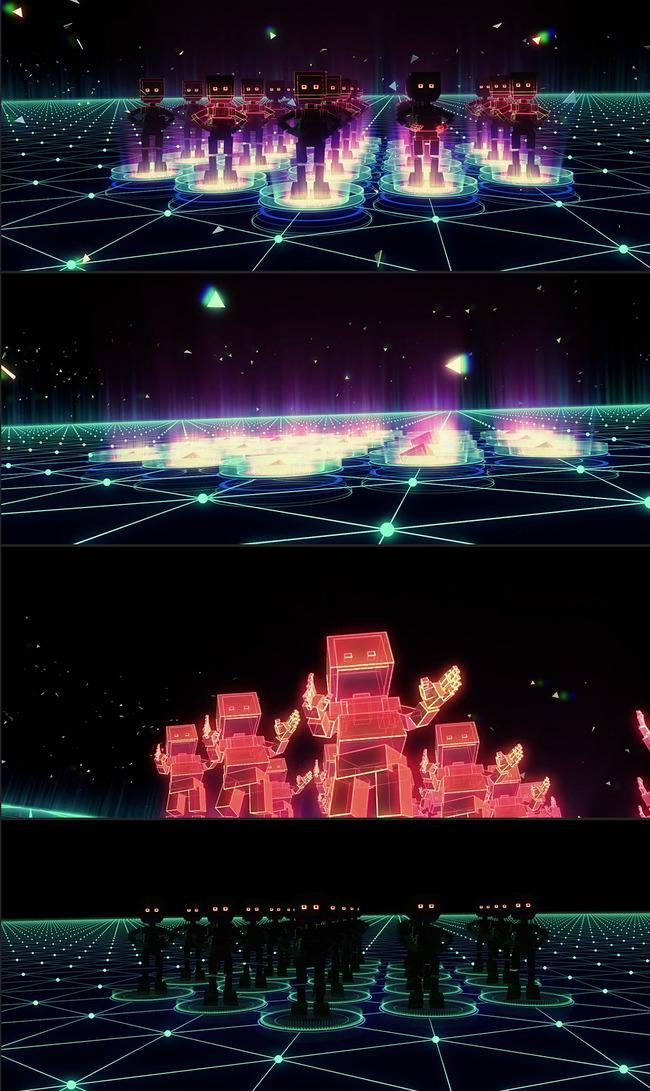 卡通魔幻机器人舞蹈酷炫开场酒吧led视频