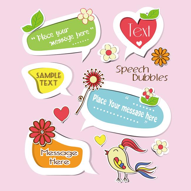 可爱对话框eps卡通小报素材图案