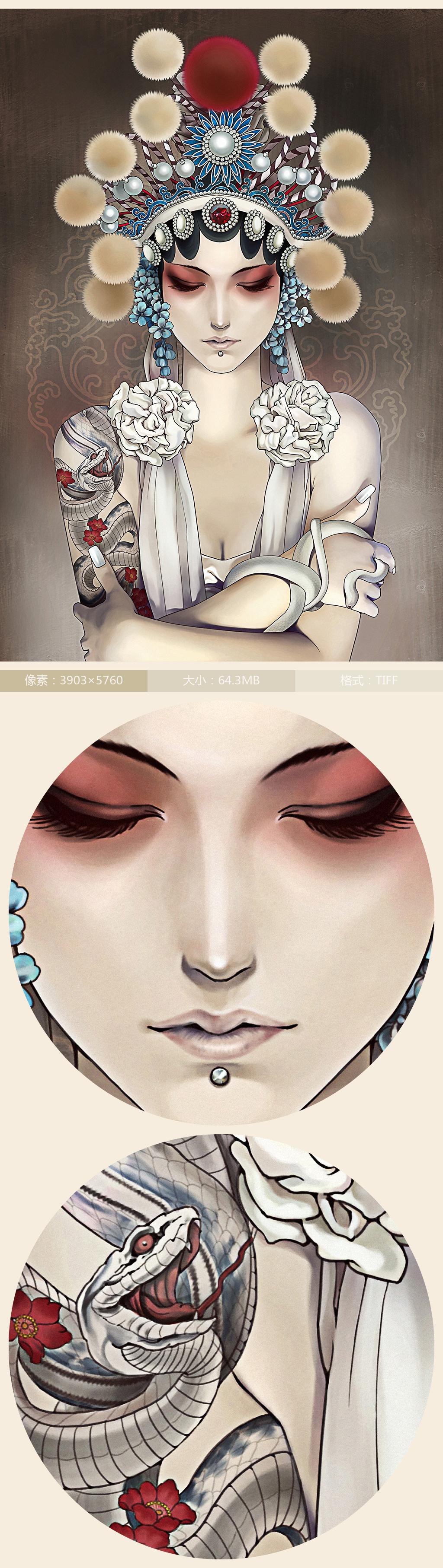 手绘京剧花旦美女玄关装饰画