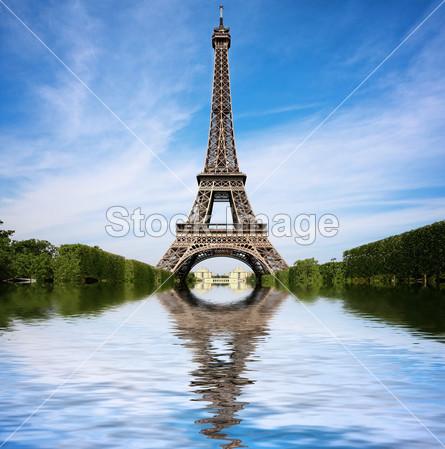 背景 蓝色的 建筑 资本 市 云 概念 埃菲尔铁塔 欧洲 著名的 法国