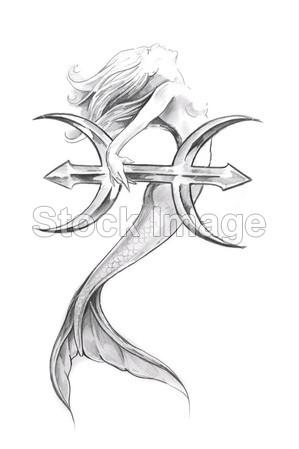 >纹身艺术,美人鱼,双鱼座的素描