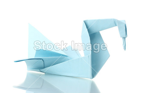 折纸天鹅突然纸上白色隔离摄影图片下载_艺术品_静物