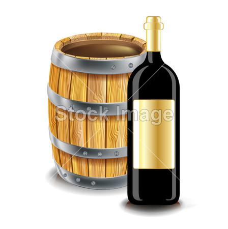 木桶和瓶葡萄酒摄影图片下载
