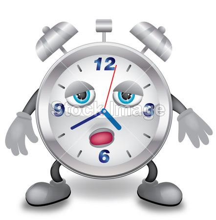 用手、 脚和瞌睡脸金属时钟的插图图片素材(图