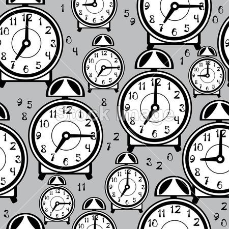闹钟黑白装饰画设计图