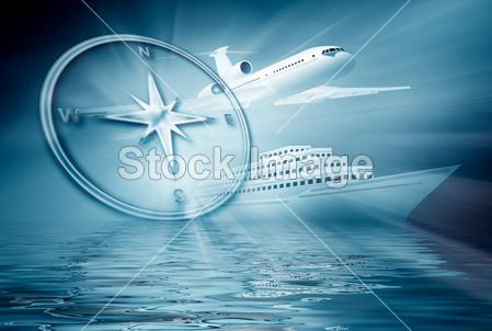 蓝色背景上飞机船指南针摄影图片下载