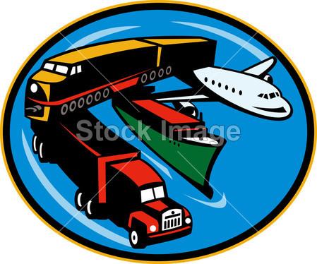 火车, 卡车, 集装箱船和飞机旅行摄影图片下载