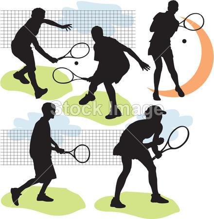 网球剪影_网球运动人物剪影图片素材编号2013061008
