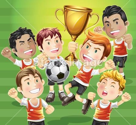 足球欢呼人群 手绘