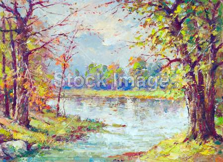 在美丽的春天天穿过森林流动的风景绘画展示河