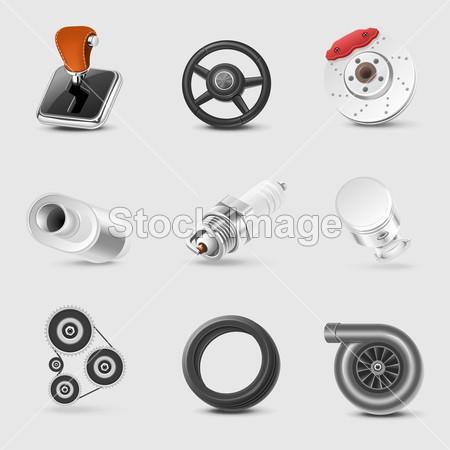 管 齿轮 图标 集 图标 插图 图像 接口 接口 图标 孤立的 金属 电动机