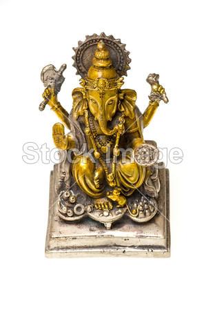 格涅沙,在黄金和白银绘的青铜雕像图片素材(图
