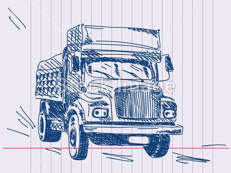 手绘图货车