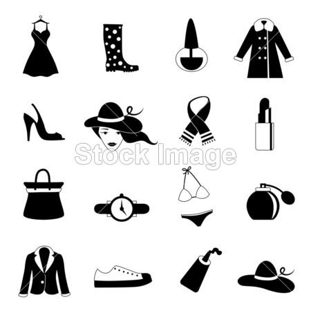 袋 带 黑色的 衣服 设计 礼服 时尚 礼物 女孩 玻璃杯 图形 帽子 图标