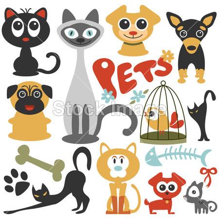幼崽 可爱的 狗元小猫凯蒂宠物漂亮的 帕格 小狗剪贴簿集暹罗猫剪影