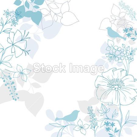 美女 鸟 开花 卡 可爱的 装饰品 装饰 装饰 设计 设计 元素 涂鸦 优雅