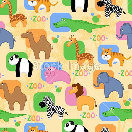 背景 骆驼 卡通 丰富多彩的 鳄鱼 可爱的 大象 花 有趣的 长颈鹿 河马