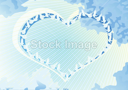 50765297 抽象空气背景鸟蓝色的云云形状鸽子图 动物