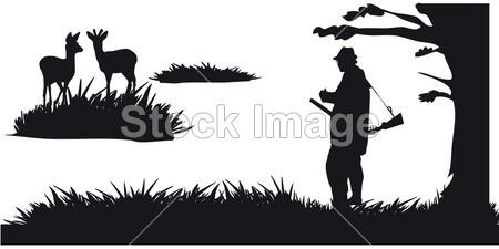 猎人与狗狩猎动物在森林-黑色和白色剪影(图片