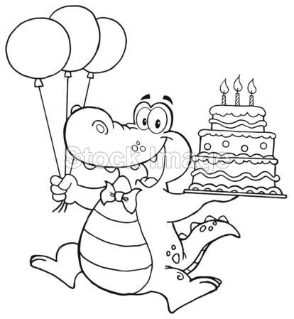 概述的生日鳄鱼举行了一个生日蛋糕