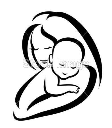 > 母亲和婴儿剪影