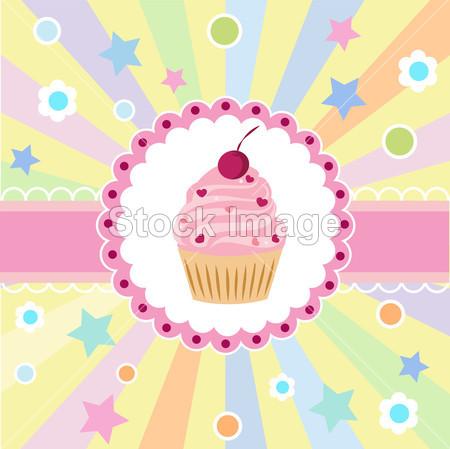 > 与蛋糕可爱生日快乐贺卡
