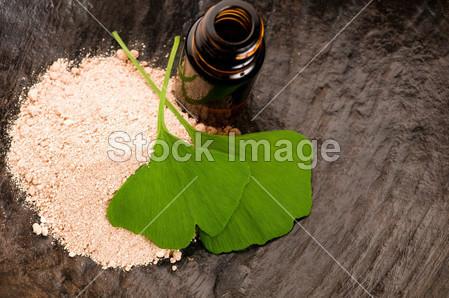 新鲜叶子银杏叶精油和粉-美容待遇图片素材(图