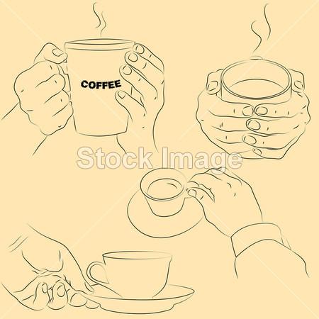 与杯子的手