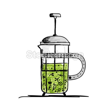 茶壶的剪影与绿茶为您的设计摄影图片下载