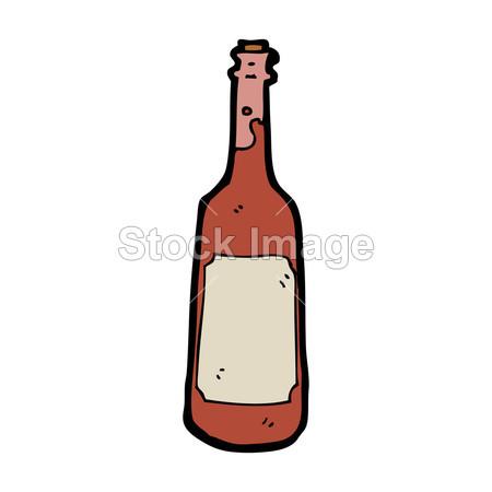 手绘卡通红酒瓶