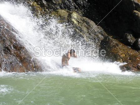 >瀑布淋浴苏梅岛泰国